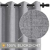 100% Blickdicht Vorhang mit Ösen, 2 Stücke Verdunkelungsvorhang 225...